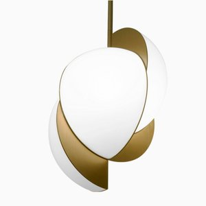 Collision Ceiling Light in Gold Galvanic with White Acrylic by Bohinc Studio