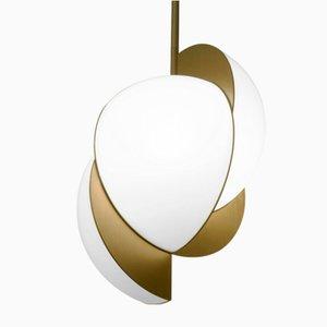 Collision Deckenlampe aus vergoldetem verzinktem Metall mit weißem Acrylglas von Bohinc Studio