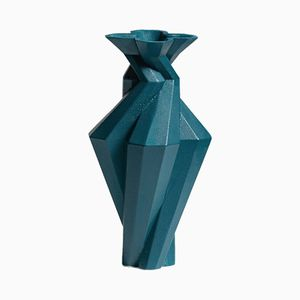 Fortress Spire Vase in Blue Ceramic by Bohinc Studio
