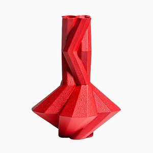 Fortress Cupola Vase in Red Ceramic by Bohinc Studio