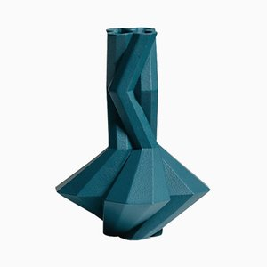 Fortress Cupola Vase in Blue Ceramic by Bohinc Studio