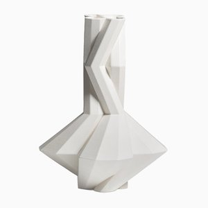 Fortress Cupola Vase in White Ceramic by Bohinc Studio