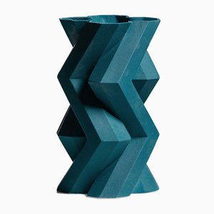 Fortress Tower Vase in Blue Ceramic by Bohinc Studio