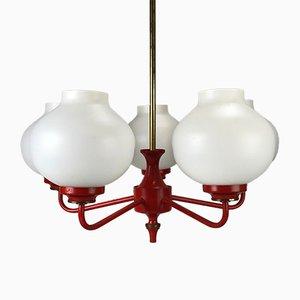 Lámpara de araña alemana con bombillas blancas, años 60