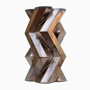 Fortress Tower Vase aus Keramik in Bronze-Optik von Bohinc Studio