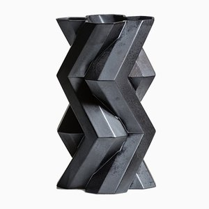 Fortress Tower Vase aus Keramik in Eisen-Optik von Bohinc Studio