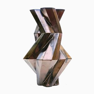 Fortress Castle Vase in Keramik in Bronze-Optik von Bohinc Studio