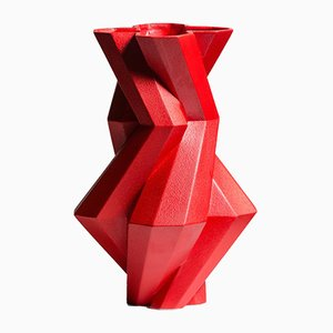 Fortress Castle Vase in Red Ceramic by Bohinc Studio