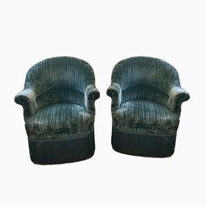 Antique Napoleon III Fringed Armchairs, Set of 2