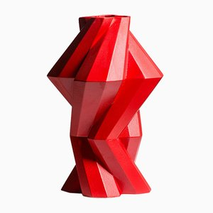 Fortress Column Vase in Red Ceramic by Bohinc Studio
