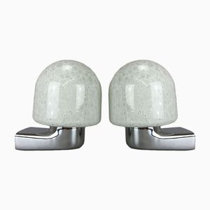 Vintage Space Age German Ice Glass Wall Lamps, 1960s, Set of 2