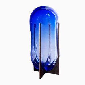 Vase Venturi Pumpkin en Verre Murano Bleu et Métal par Bohinc Studio
