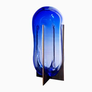 Venturi Pumpkin Vase aus blauem Muranoglas & Metall von Bohinc Studio