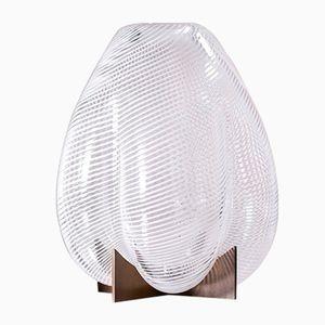 Vaso Venturi Pumpkin in vetro di Murano bianco e metallo di Bohinc Studio