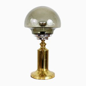 Brass and Smoked Glass Table Lamp, 1960s