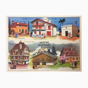 Poster scolastico Le Plan de la Maison & Maisons Régionales double face di J. Anscombre per Imprimerie Georges Lang, Francia, 1960