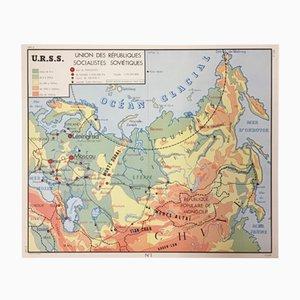 French Double-Sided School Map URSS & USA from Edition Rossignol Montmorillon Vienne France, 1961