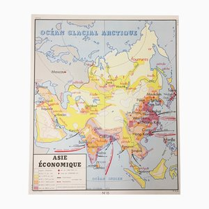 Mapa de escuela 'Asia' & 'América' francés de doble cara de Edition Rossignol Montmorillon Vienne France, 1961