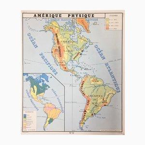 Mappa scolastica di Asia ed America di Edition Rossignol Montmorillon Vienne France, 1961