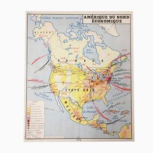 Doppelseitige französische Asien & Nordamerika Lehrtafel von Edition Rossignol Montmorillon Vienne France, 1961