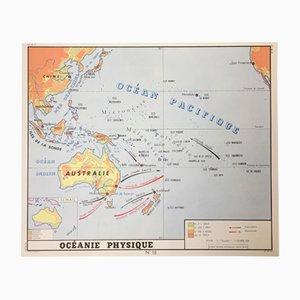 Mapa escolar 'Sudamérica' & 'Oceanía' francés de doble cara de Edition Rossignol Montmorillon Vienne France, 1961