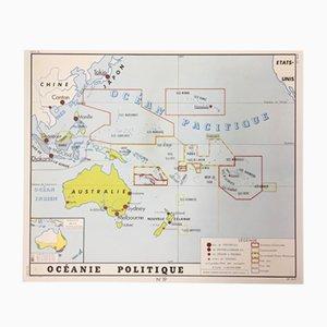 Mapa escolar de dos caras Oceania & The New World de Edition Rossignol Montmorillon Vienne France, 1961