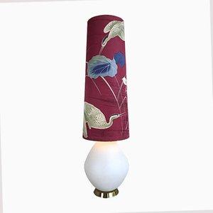 Große Opalglas Stehlampe mit Kranich Schirm, 1950er