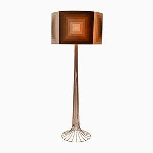 Lámpara de pie de latón con tela Mira X de Verner Panton para Fritz Hansen, años 70