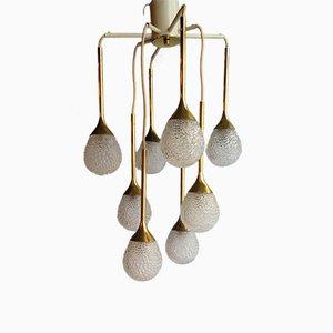 Vintage Kronleuchter mit 8 Birnen aus dickem Strukturglas in Tropfenform