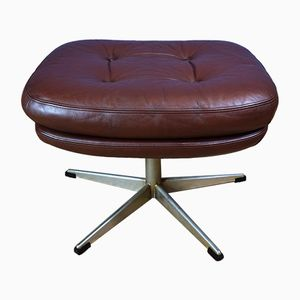 Danish Brown Leather Swivel Ottoman by H.W Klein for Bramin, 1970s