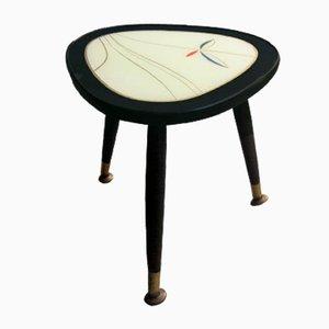 Tavolino piccolo con ripiano in vetro dipinto, anni '50