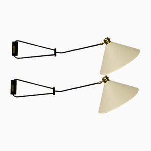 Double Arm Wall Sconces by René Mathieu for Lunel, 1950s, Set of 2
