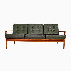 Danish Green Leather 3-Seat Sofa, 1960s
