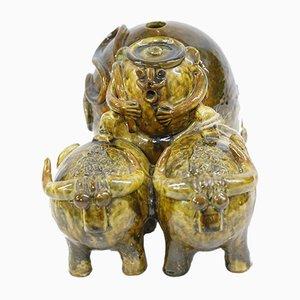 Ceramic Oxen Vase, 1970s