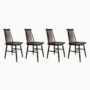 Vintage Spindle Back Chairs by Ilmari Tapiovaara for Preben, Set of 4