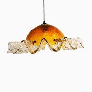 Hängelampe aus handgeblasenem Glas von Mazzega, 1960er
