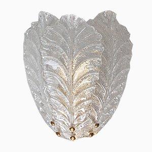 Applique grande a forma di foglie in vetro di Murano, anni '80