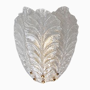 Large Murano Glass Leaf Wall Sconce, 1980s