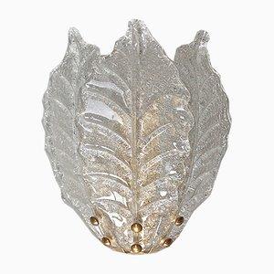 Applique media a forma di foglie in vetro di Murano, anni '80