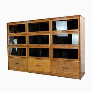 English Window Fronted Oak Haberdashery Cabinet, 1940s