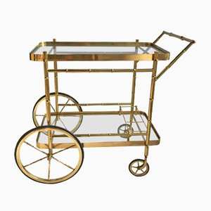 French Brass Faux Bamboo Bar Cart, 1970s