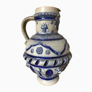 Antiker deutscher Weinkrug aus Steingut