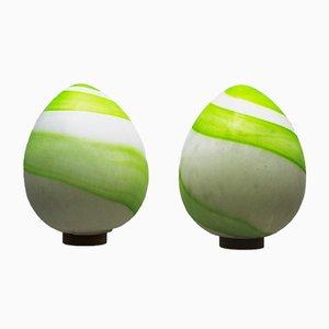 Lampade da tavolo grandi vintage a forma di uovo, set di 2