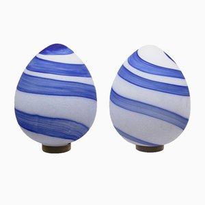 Lámparas de mesa vintage grandes en forma de huevo de vidrio. Juego de 2