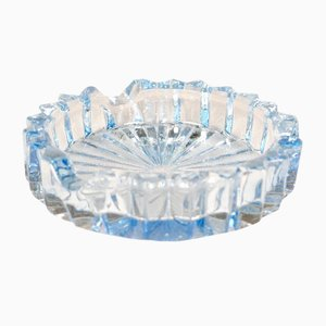 Light Blue Crystal Glass Ashtray, 1960s