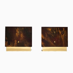 Lacquered Brass Nightstands from Maison Jansen, 1970s, Set of 2