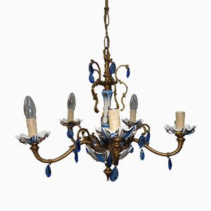 Italian Brass and Porcelain Chandelier, 1950s