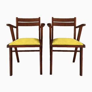 Französische Bridge Armlehnstühle, 1950er, 2er Set