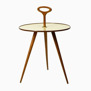 Tavolo piccolo rotondo Mid-Century tripode con manico e gambe in noce
