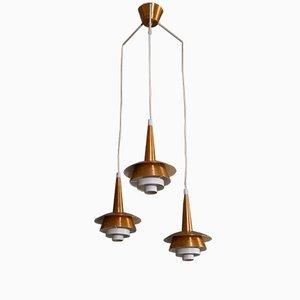 Lámpara de techo danesa de tres brazos de cobre, años 60